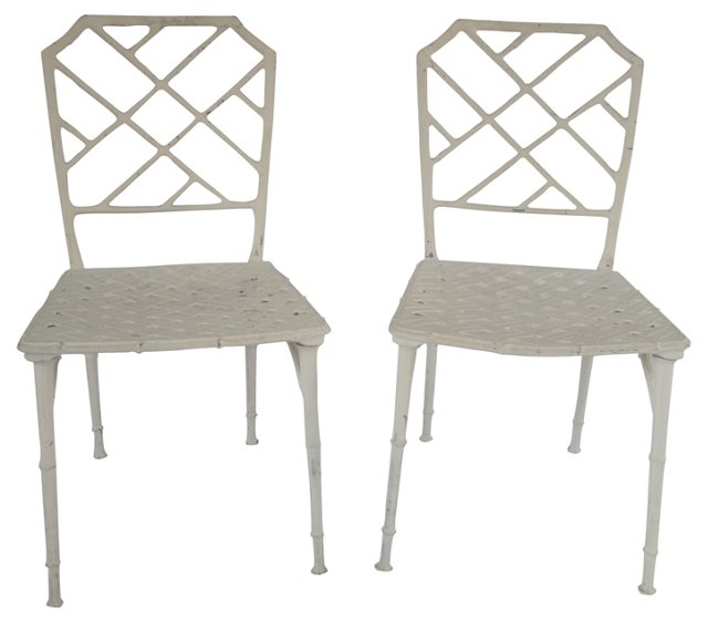 Aluminum Bamboo-Style Side Chairs, Pair