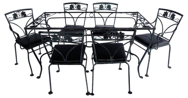 Maple Leaf Iron Table & 6 Chairs