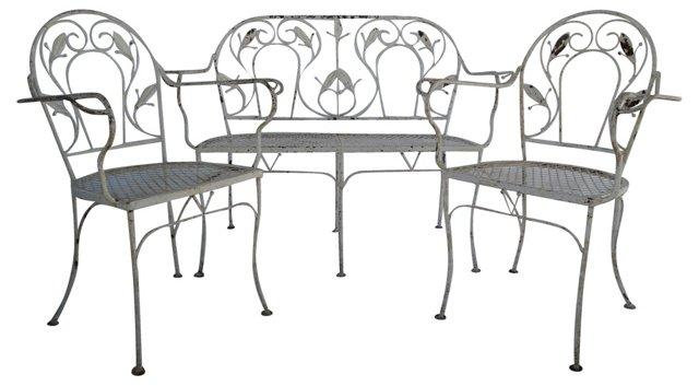 Wrought Iron Settee & 2 Armchairs