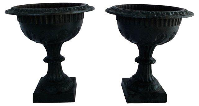 Antique Cast-Iron Garden Urns, Pair
