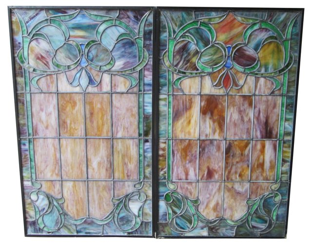 Stained Glass Cathedral Panels,   Pair