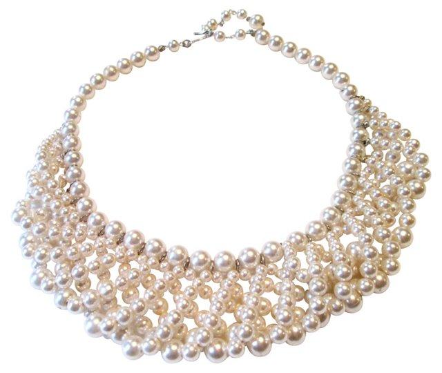 Faux-Pearl Bib Collar