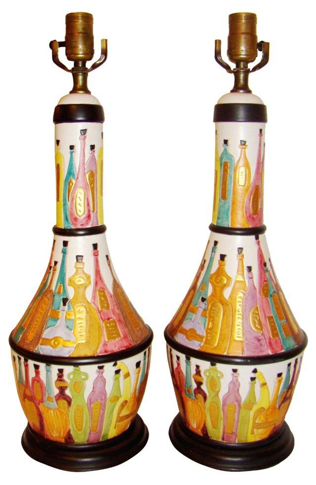Lamps w/ Decanter Motifs, Pair