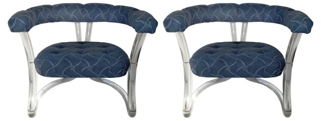 Tufted Lucite Armchairs, Pair