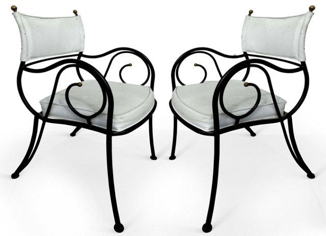 Iron Chairs w/ Scrolled Arms, Pair