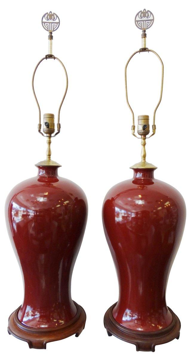 Asian Porcelain Lamps, Pair