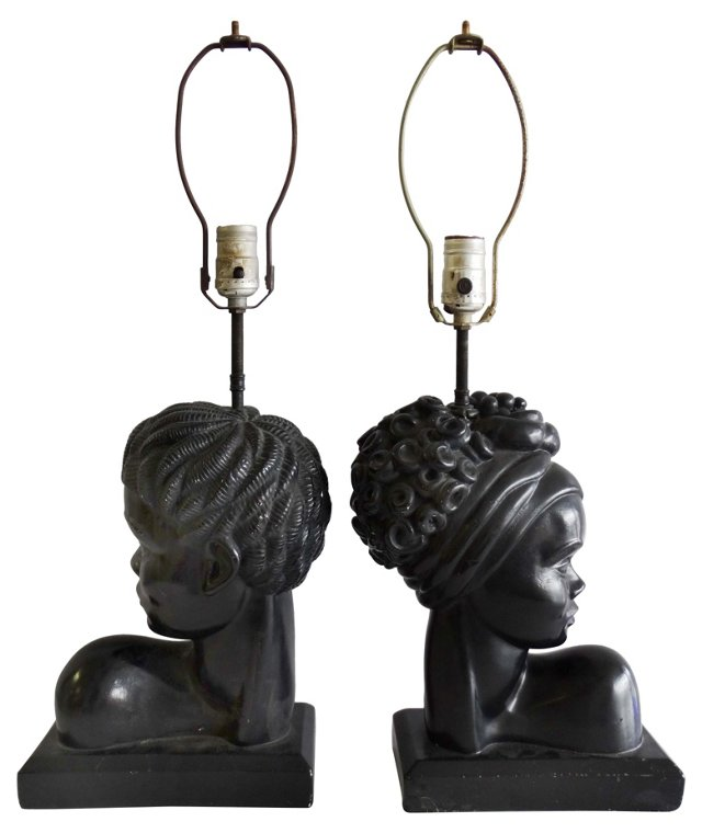 African Bust Lamps, Pair