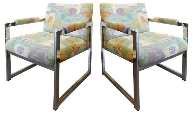 Baughman Upholstered Chrome Chairs, Pair