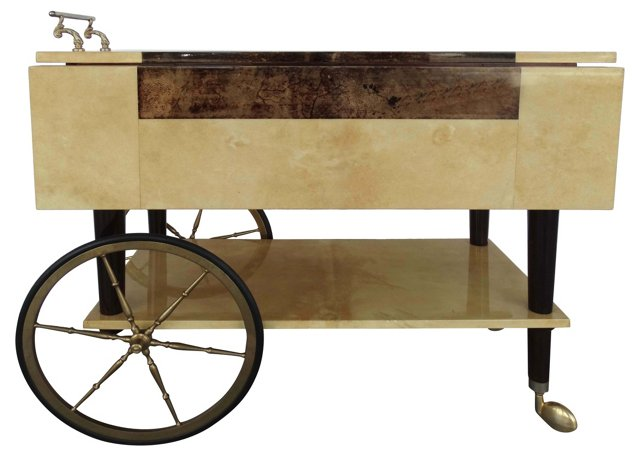 Aldo Tura Parchment Serving Cart