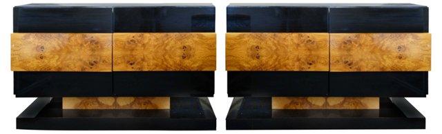 Burled Amboyna Cabinets, Pair