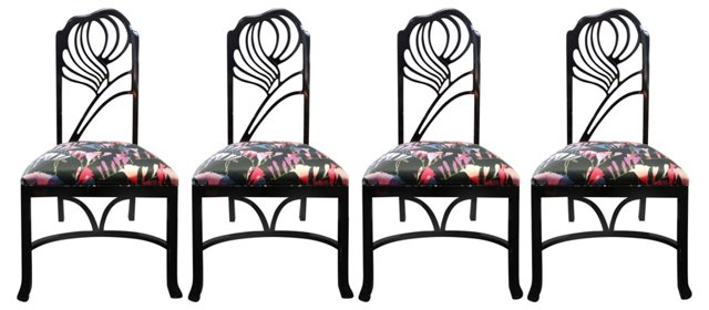 Black Lacquered Dining Chairs, S/4