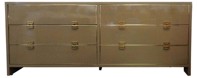 Midcentury Lacquer & Brass Dresser
