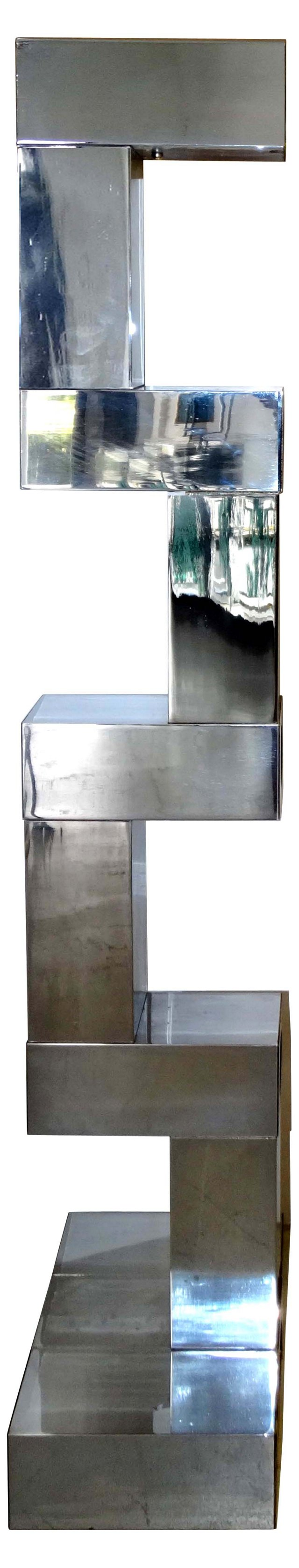 Architectural Stepped Chrome Floor Lamp