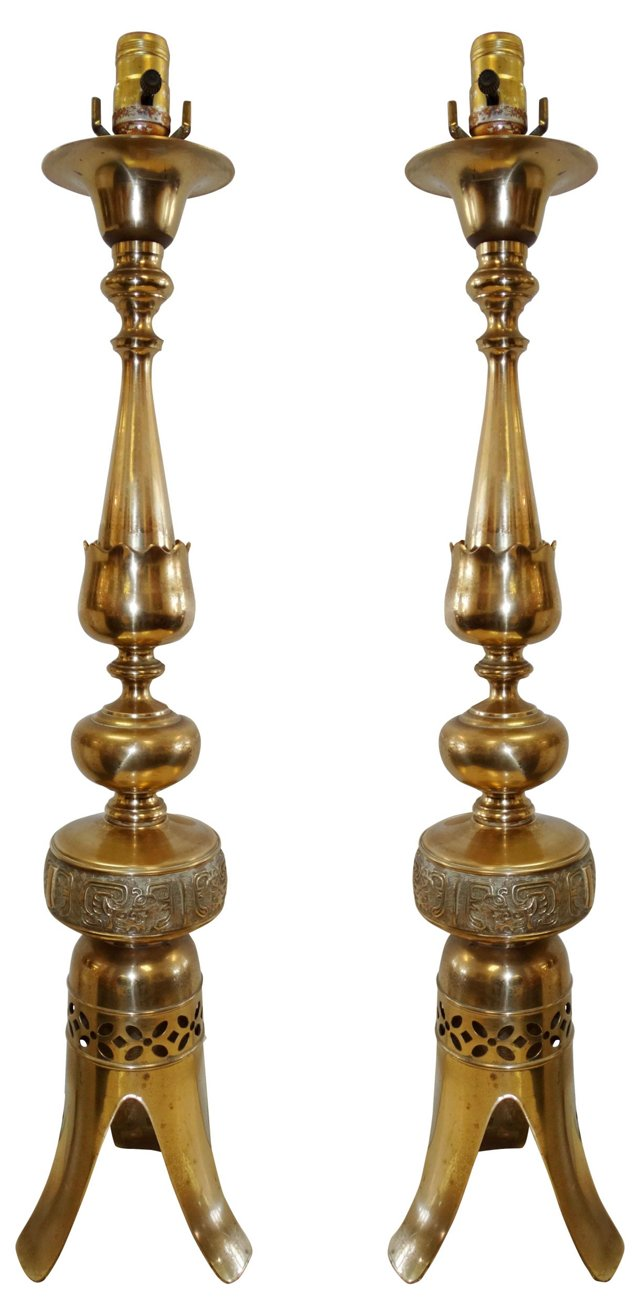 James Mont-Style Brass  Lamps, Pair