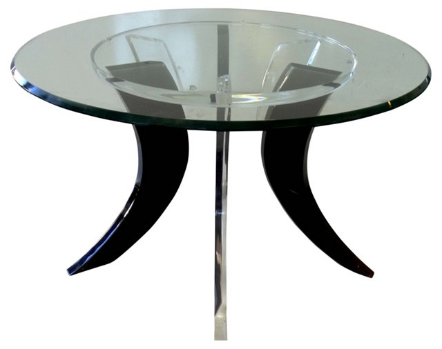 Midcentury Wood & Lucite Cocktail Table