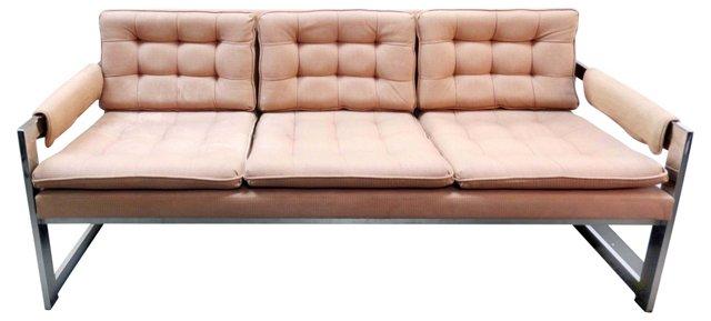 Sofa w/ Chrome Frame Attr. to Baughman