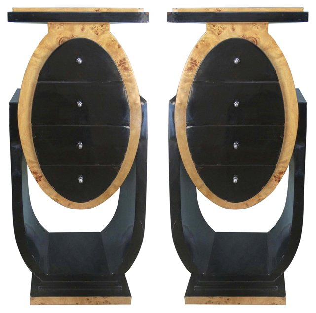 Art Deco Burl Wood Cabinets, Pair