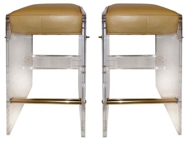 Lucite Stools w/ Kid Glove Leather, Pair