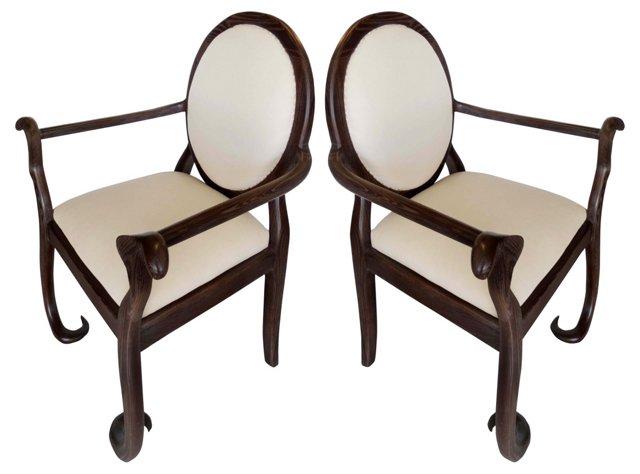 Cerused Oak Chairs w/ Curled Legs, Pair