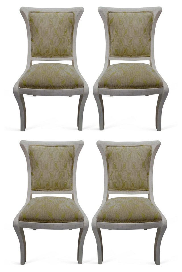 Tessellated Bone  Side Chairs, S/4