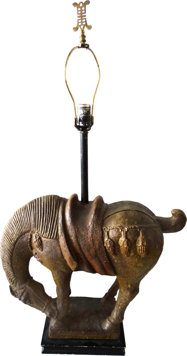 James Mont-Style Tang Horse Table Lamp