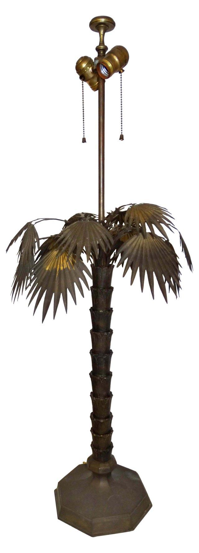 Antique Bronze Palm Tree Table Lamp