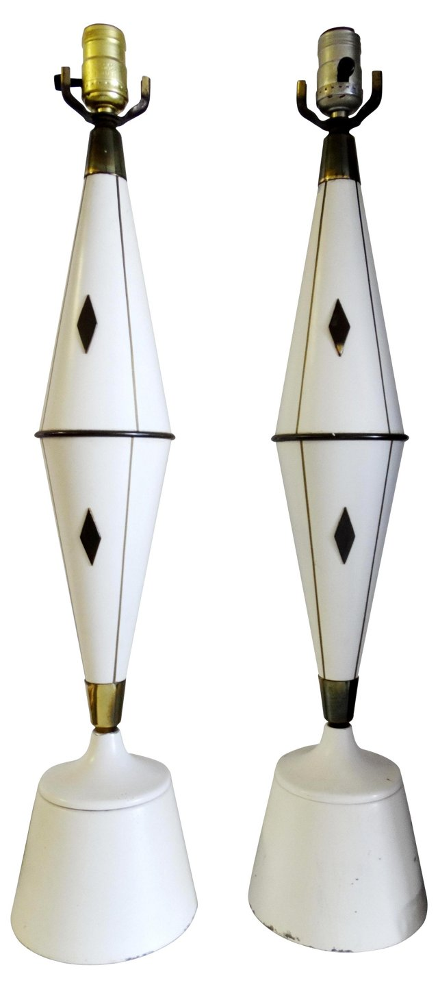 Midcentury Harlequin Table Lamps, Pair
