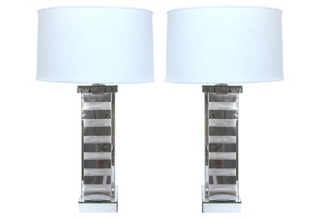 MCM Steel Band & Glass Table Lamps, Pair