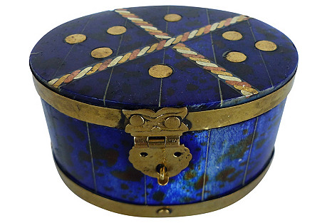 Lapis Hue Inlaid Brass & Copper Box