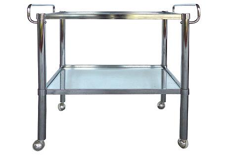Midcentury Chrome Double-Handle Bar Cart