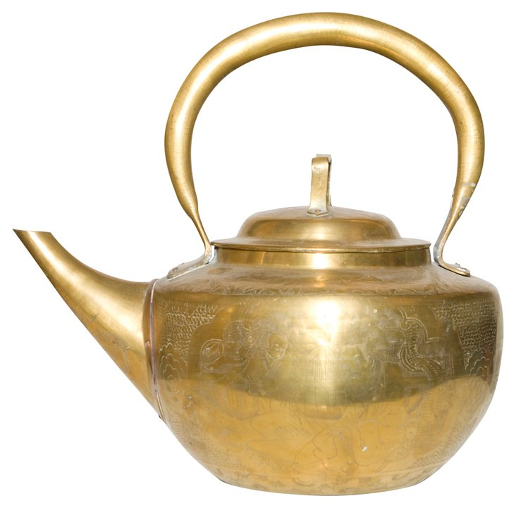 Brass Tea Kettle w/ Asian Motif