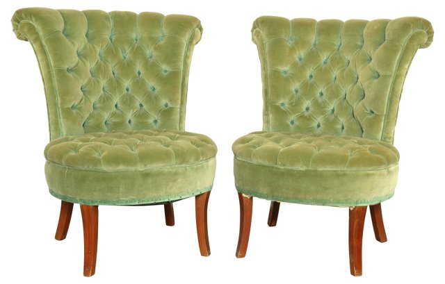 Upholstered  Slipper  Chairs, Pair