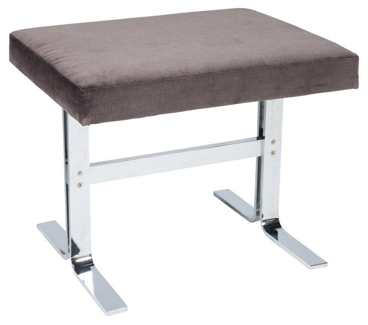 Gray Velvet & Chrome Stool