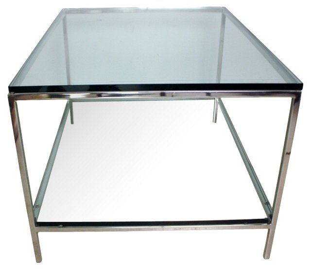Chrome & Glass Two-Tiered Table