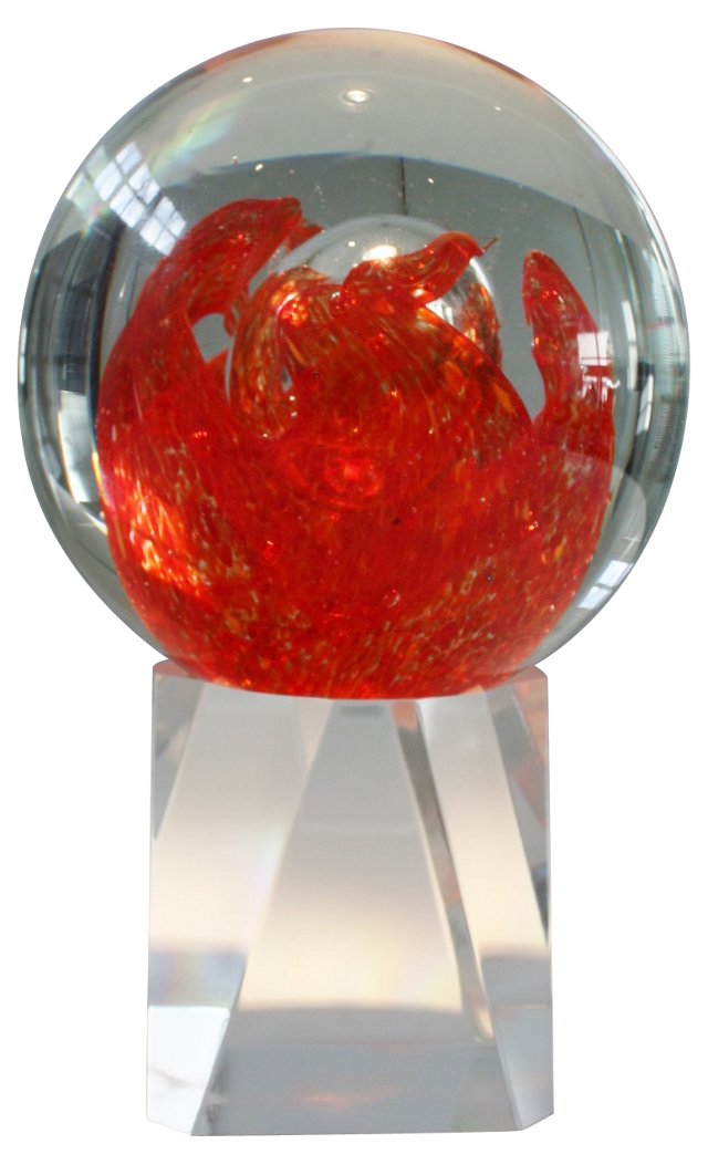 Art Glass Globe on Lucite Stand