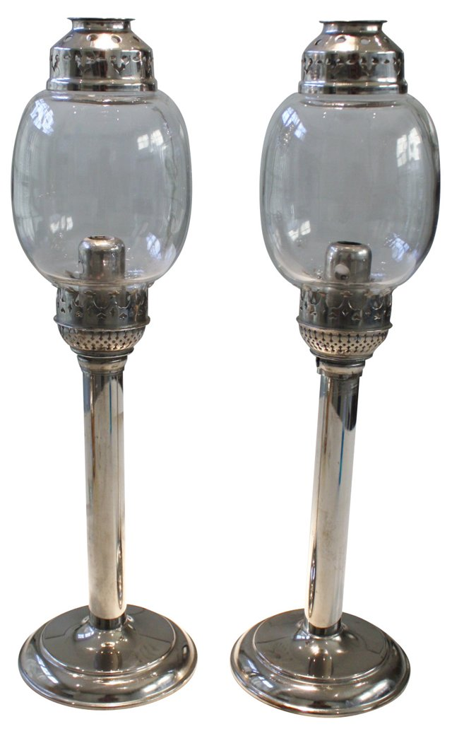 Spring-Loaded Candleholders, Pair