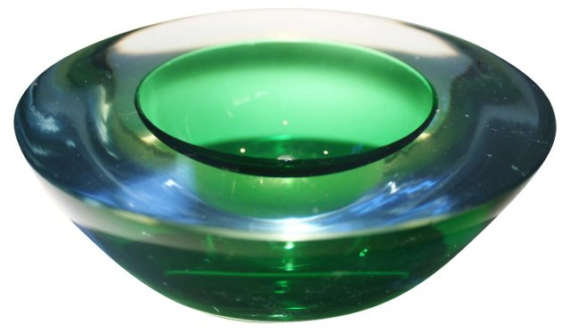 Murano Sommerso Green Bowl