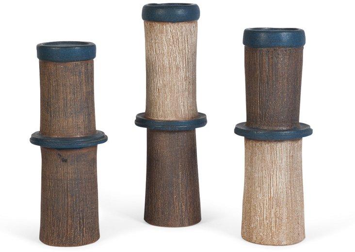 Ceramic Candleholders, Set of 3