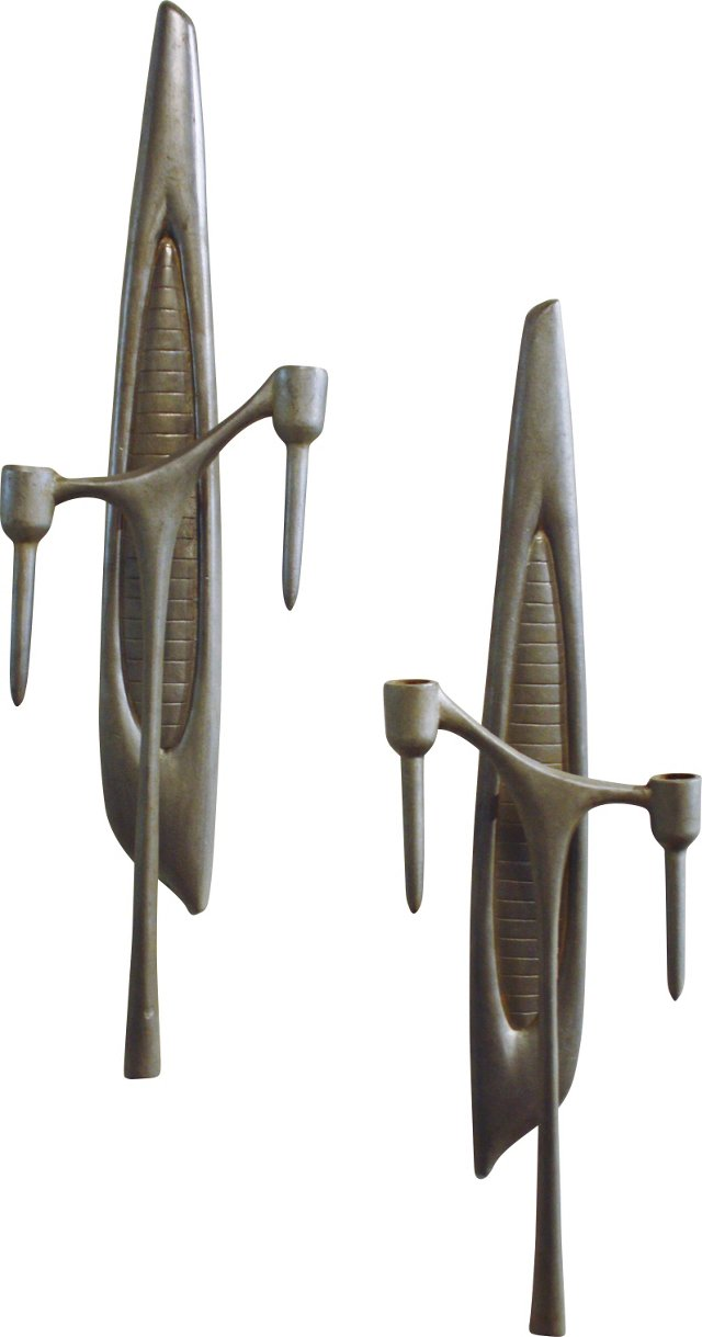 Pewter Candle Sconces, Pair
