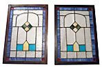 Geometric Stained Glass Windows, Pair