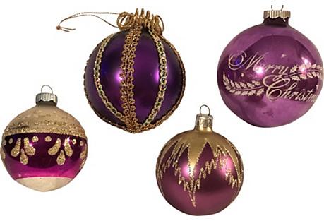 Set of Four Purple Ornaments