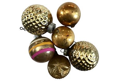 1930's-50's Gold Onaments-Set of Six
