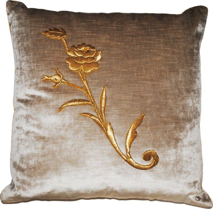 Velvet Pillow w/ Antique Flower