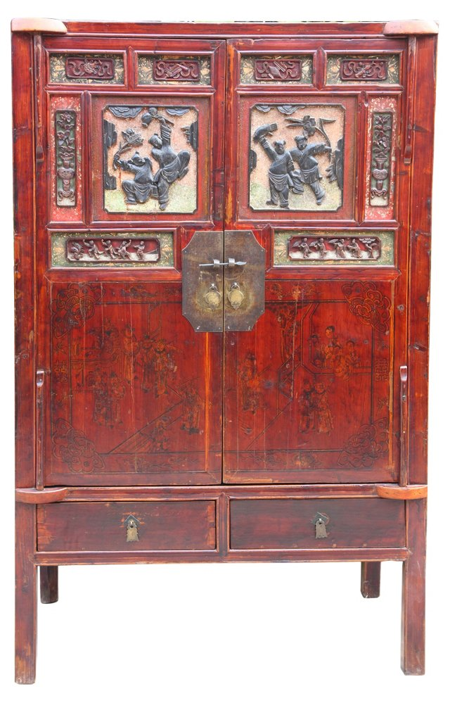 Chinese Red Carved Cabinet