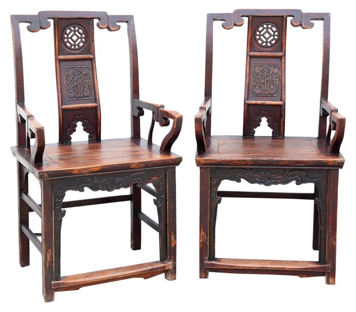 Chinese Square-Back Chairs, Pair