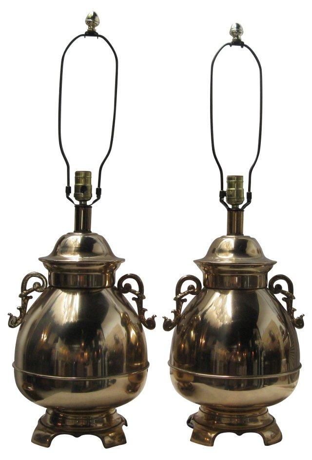 Brass Ginger Jar Lamps, Pair