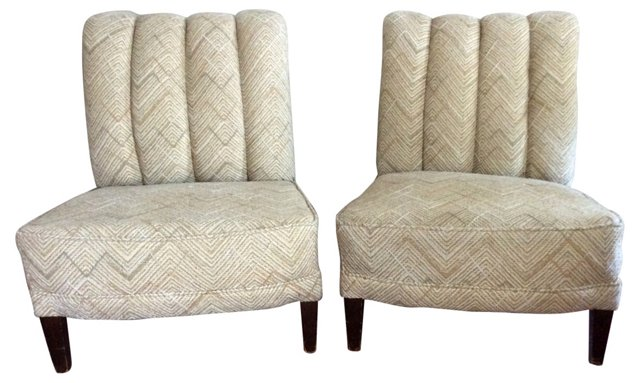 Channel-Back Slipper Chairs, Pair