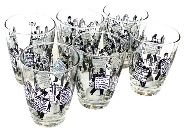 NYC Cocktail Recipe Glasses, S/6