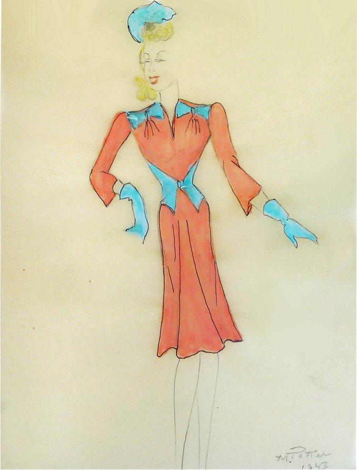 Coral Dress Fashion Drawing