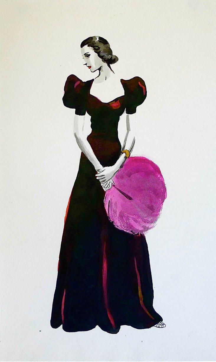 Velvet Gown & Feather Fan
